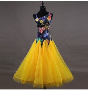 Women's ballroom dresses female long length competition flamenco waltz tango floral performance long dresses