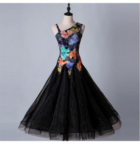 Ballroom long dresses for women female flamenco competition velvet floral performance waltz tango dancing dresses
