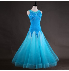 Turquoise ballroom dresses for women female diamond competition stage performance waltz tango long dresses