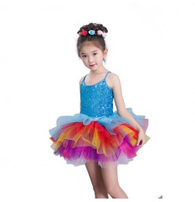 Kids jazz dance dresses rainbow colored princess stage performance modern dance jazz singers cosplay dresses