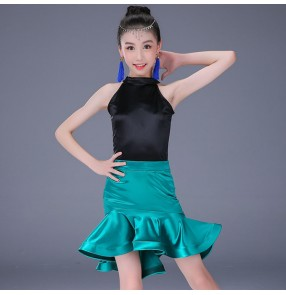 Kids latin dresses for girls stretchable shiny school stage performance competition ballroom salsa rumba chacha dancing tops and skirts