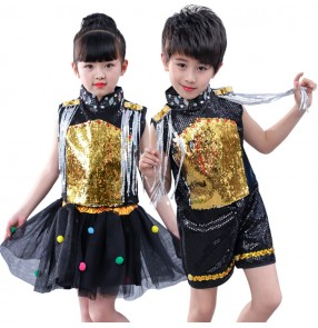 Kids jazz dance street dance modern dance outfits boy girls gold sequin pailletter singers team dancers school competition performance costumes