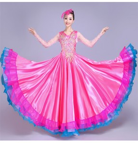 Flamenco dresses pink female women's Spanish folk dance opening dancing big skirted bull dance ballroom long length dresses