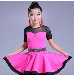 Girls latin dresses diamond pink mint white purple competition stage performance salsa chacha rumba dance dresses