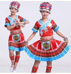 Girls Red miao dance costumes Ancient Traditional Chinese Dance Costumes tujia ethnic national minority  Hmong Miao Dress Clothing Hmong performance Clothes