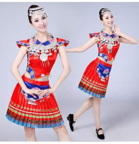 Women's chinese folk dance costume miao hmong minority stage performance competition photos cosplay national dancing dresses clothes