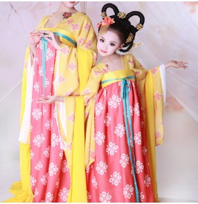 Kids chinese folk dance costumes ancient traditional china drama photos cosplay queen fairy princess performance dancing dresses robes