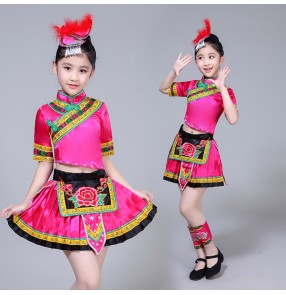 Kids Chinese folk dance costumes miao hmong minority performance dresses tujia ethnic drama cosplay clothes