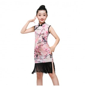 Kids latin dresses competition china style pattern stage performance professional competition salsa chacha rumba dance cheongsam dance dresses