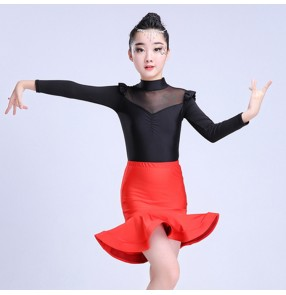 Kids latin dresses girls competition stage performance salsa rumba chacha dancing tops and skirts