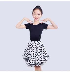 Kids latin dance dresses girls white polka dot  stage performance professional competition salsa rumba chacha dance dresses