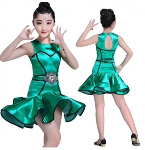 Kids green latin dresses satin shiny stage performance competition salsa rumba dresses costumes