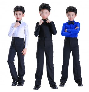 Kids ballroom latin dance tops and pants royal blue white children performance competition salsa rumba waltz tango dance sets