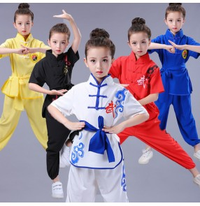 kids Chinese folk Traditional dragon Wushu Costumes Martial Arts Uniforms Kung Fu Suit Boys Girls Stage Performance tai chi Top and Pants