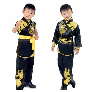 China traditional wushu costumes boys Anime kung fu hero equipment tai chi cosplay uniforms children dragon phoenix suit uniform Halloween dress
