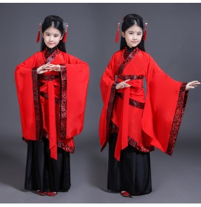 Girls chinese folk dance costumes kids fairy hanfu traditional stage performance anime film drama cosplay Japanese kimono robes