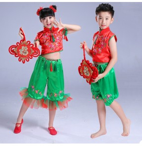Kids Chinese folk dance costumes for girls boys dresses ancient yangko classical dance stage performance party celebration dresses