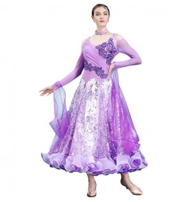 Women's ballroom dresses female violet blue red competition standard stage performance waltz tango  long dresses