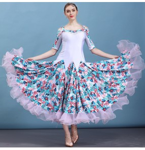 Women's flamenco ballroom dresses floral competition waltz tango competition practice dancing long dresses