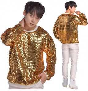 Men's singers hiphop  tops gold paillette jazz dance long sleeves male sequin modern dance dancers stage performance solo night club drummer competition t shirts tops