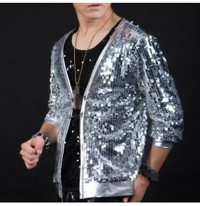 Silver sequin jazz singers hiphop dancing jacket  for men male competition modern dance street stage performance night club solo dancing coats