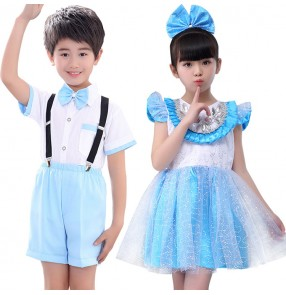 Kids jazz dance dresses for boys flower girls modern dance singers princess dancers school competition chorus school performance outfits