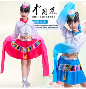 Kids chinese folk dance costumes ancient traditional water fall sleeves tibet Mongolian stage performance drama national cosplay dance robes dresses