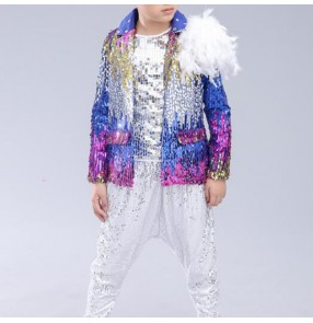 Boys jazz dance costumes blue sequin gradient color hiphop stage performance street dancing outfits jackets and pants