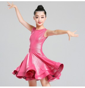 Kids latin stage performance dresses girls children stretchable shiny competition show party photos salsa chacha rumba dresses