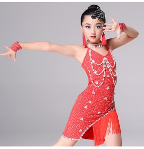 Kids latin dresses for girls red black child school competition professional stage performance diamond fringes samba chacha salsa dance dresses