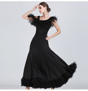 Women's flamenco ballroom dancing dresses red black dark green competition professional stage performance waltz tango dresses