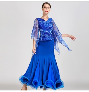Flamenco ballroom dresses printed dark green royal blue red printed competition stage performance tango waltz dancing dresses