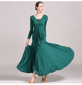Women's ballroom flamenco dress dark green purple waltz tango competition stage performance professional dresses Robes de bal de femmes