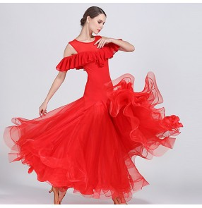 Flamenco red black Women's competition ballroom dresses Vestidos de salón de mujeres stage performance professional tango waltz dancing dress