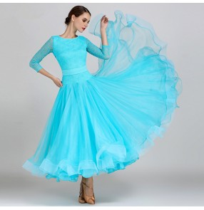 Female lace ballroom dresses Abito da ballo long length big skirted competition professional tango waltz dancing dresses