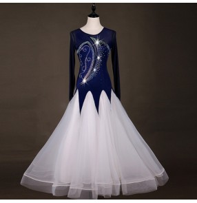 Competition ballroom dancing dresses navy diamond stage performance professional tango waltz dance dresses Abiti da ballo di colore blu scuro