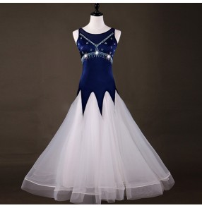 Ballroom dancing dresses white and navy patchwork diamond competition professional waltz tango dancing dresses