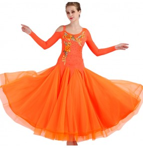 Women's ballroom dresses orange diamond long sleeves long length waltz tango competition professional rumba chacha dance dresses
