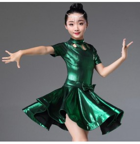 Girls latin dresses stage dark green wine silver performance competition professional rumba samba chacha salsa dancing costumes