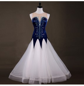 Navy and white ballroom dresses for female competition diamond professional stage performance waltz tango dance dresses