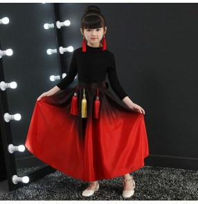 Black and red china style girls folk dance costumes traditional classical ancient drama anime cosplay photos dance dresses