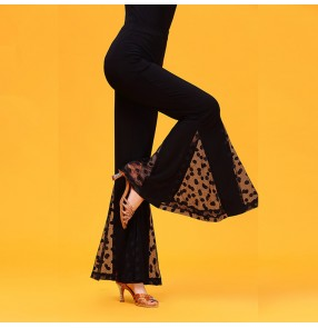 Black ballroom latin dance pants for women female polka dot lace stage performance competition waltz tango dancing trousers