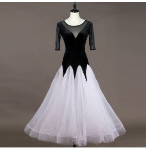 Black velvet ballroom dresses competition professional stage performance waltz tango long length dresses