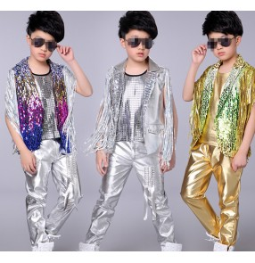 Boy jazz dance costumes sequin modern drummer photos show dancing stage performance vests waistcoats and pants