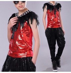 Boy jazz hiphop dance modern dance  outfits singers drummer competition street performance tops and pants and feather vests