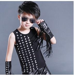 Boy's jazz dance vests rivet modern dance street hip hop dancing outfits for kids children show drummer competition tops