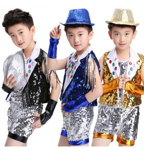 Boys jazz dance outfits modern street dance sequin costumes for kids children stage performance singers show drummer competition tops and shorts