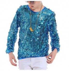 Boys jazz hiphop dance tops t shirt sequin silver gold blue modern street dance singers show performance competition t shirts