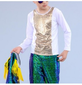 Boys street dance tops gold sequin modern dance hiphop jazz singers model show drummer competition stage performance t shirts tops