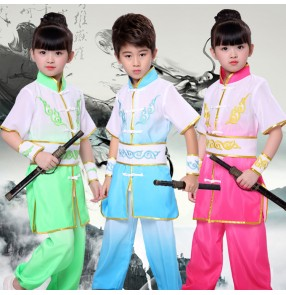 Children china traditional Kung Fu costumes girls boys tai chi stage performance school student training martial sports cosplay dancing tops and pants